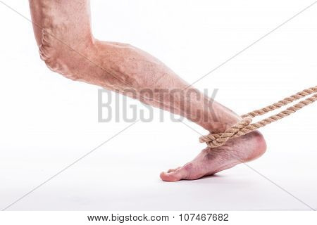 Rope Holding Human Leg Ailing Varicose Veins Of The Lower Extremities And Venous Thrombophlebitis An