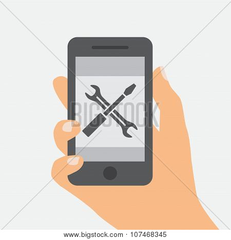 Flat design of Mobile repair