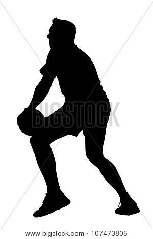 Silhouette Of Korfball Men's League Player Looking To Offload Ball