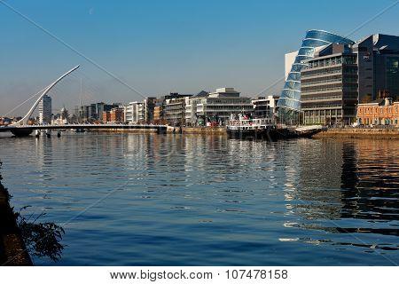 Samuel Beckett Bridge and the river Liffey in Dublin City Centre