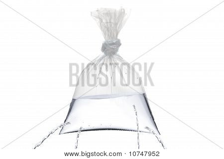 Plastic Bag With Holes, Being Filled, But The Water Is Leaking
