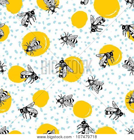 Vector Seamless Hand Drawn Honey Bee Pattern.
