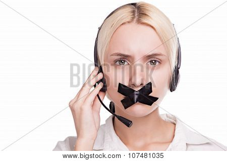 Woman Telephone Operator In Headphones With A Microphone Can Not Speak Because Of Gummed Mouth, Pict