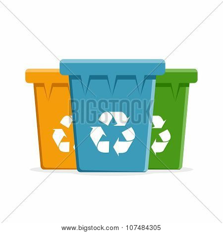 Vector Recycle Bins for Trash and Garbage.
