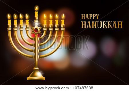 Elegant greeting card for Happy Hanukkah, jewish holiday. Hanukkah golden menorah with burning candles on blurred night background. Vector illustration.