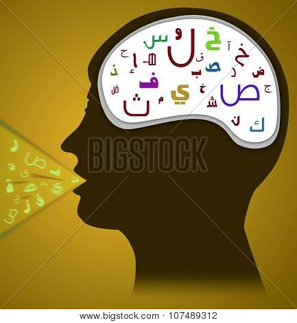 Silhouette of Man Speaking and Thinking Arabic Alphabet