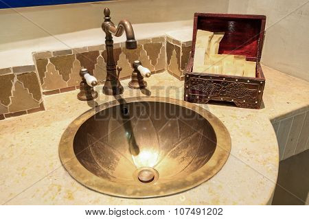 Moroccan Vintage Style Bathroom With Amenities