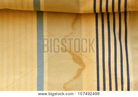 Curtain texture. Sunblind cloth with old navy stripes and shabby effect
