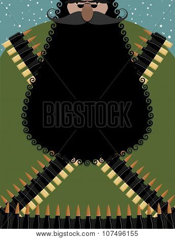 Santa Claus Bandit With  Black Beard. Wicked Character Christmas In Army Gear-bandolier. Harsh Terro