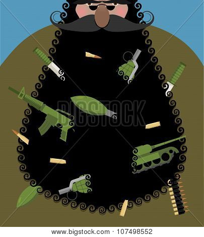 Santa Claus is terrorist with black beard. Evil Santa with arms in beard: automatic gun and grenade. Army knife and tank. Gangster Christmas. Bully grandfather. poster