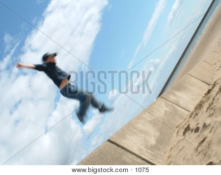 boy doing high jump poster