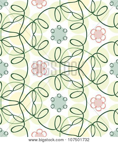 Seamless spring color hand-drawn pattern, vector EPS10