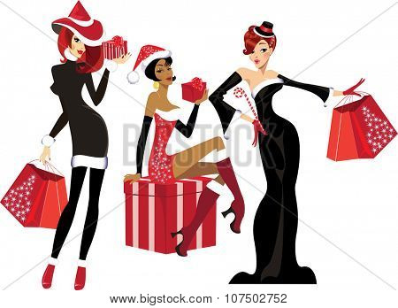 glamorous girls with christmas gifts