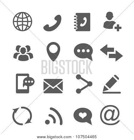 Contact communication icons set