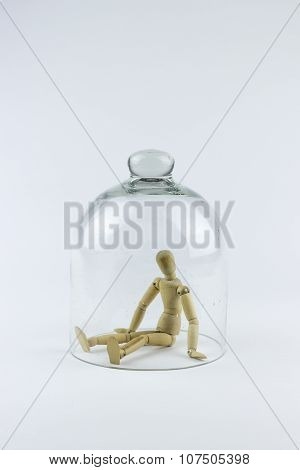 Wooden Puppet In A Glass Bell
