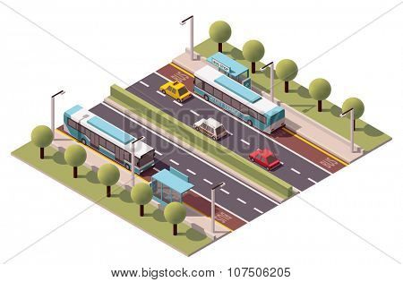 Isometric icon representing bus stop
