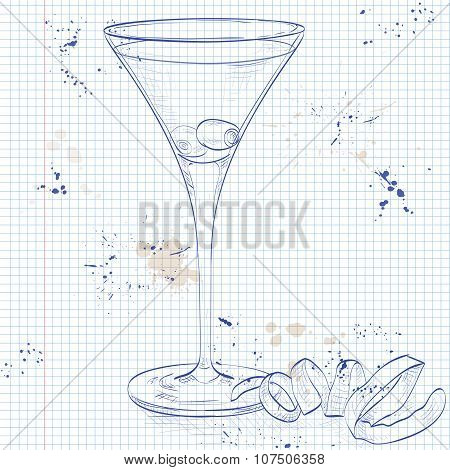 Cocktail Dirty Martini on a notebook page