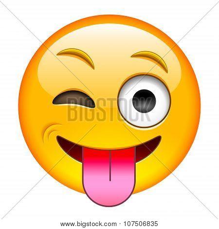 Eyewink With Tongue Emoticon