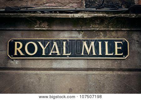 Royal Mile road sign in Edinburgh.