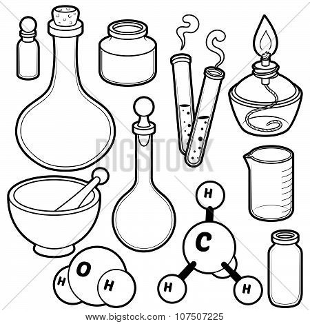 Chemical flasks. Black contour on a white background. poster