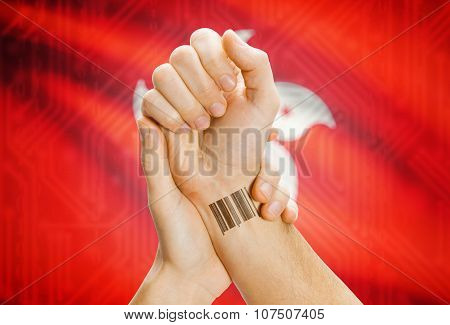 Barcode Id Number On Wrist And National Flag On Background - Hong Kong