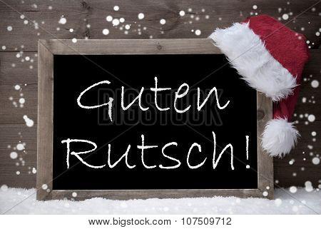 Gray Christmas Card, Chalkboard, Guten Rutsch Mean New Year