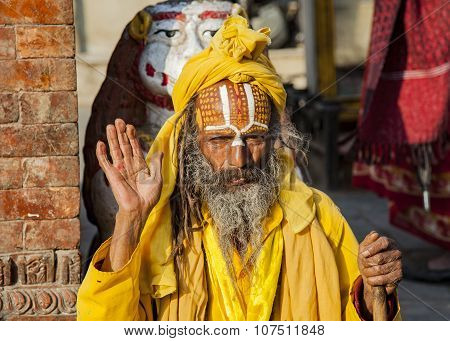 Sadhu, A Religious Ascetic Or Holy Person In Kathmandu