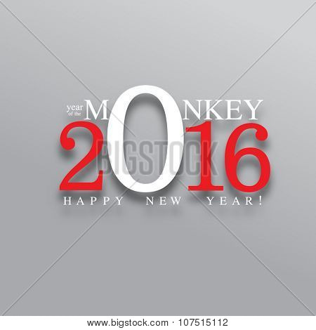 happy new year, 2016 typography background design, year of the monkey