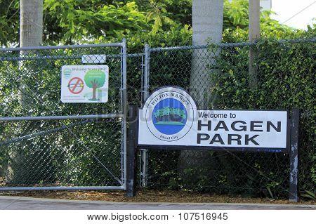 Welcome To Hagen Park Sign