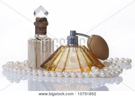 Vintage Perfume Bottles And Pearls