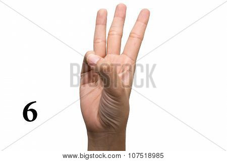 Number six in sign language.