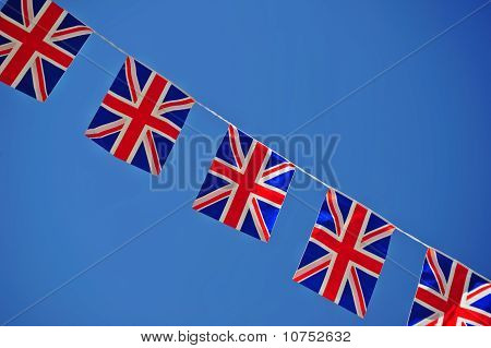 Union Jacks In A Line