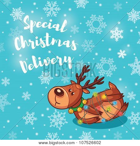 Special Christmas Delivery. Holiday card with cute cartoon deer