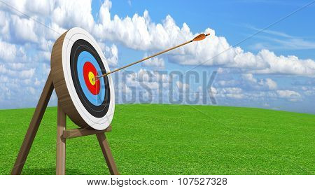 Archery target with an arrow stuck accurately in the center ring bullseye
