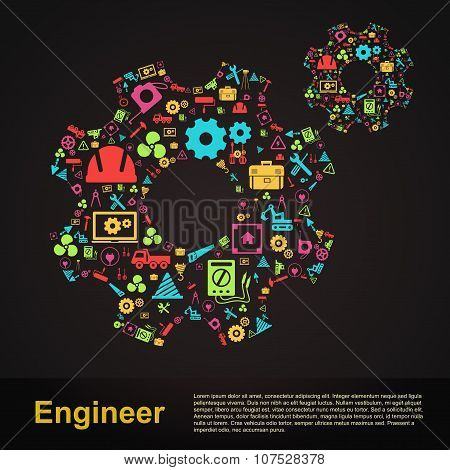 Mechanical And Civil Engineering Gear Shape Infographic Banner Template Layout Icon Design Of Profes