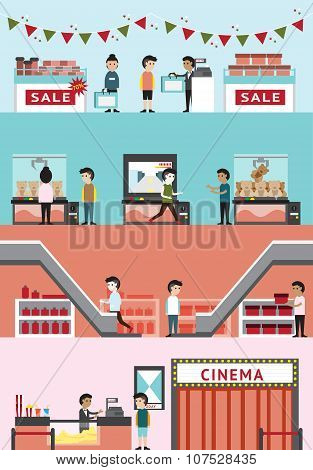 Flat Cartoon Department Store Mall Building Interior Design And Layout For Cinema, Seasonal Sale Pro