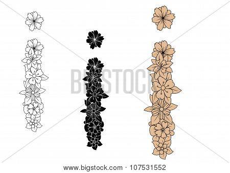 Vintage floral capital letter I in variations