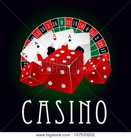 Casino icon with aces, dice and roulette wheel