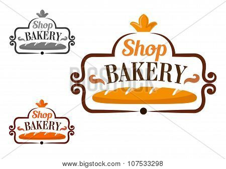 Bakery shop icon with cartouche and loaf