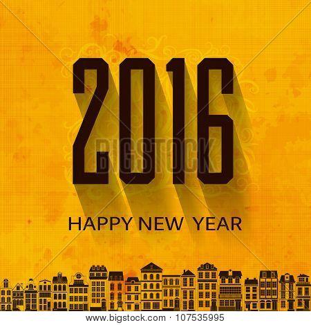 Flat minimal grange orange New Year's Eve greetings card