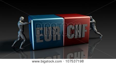 EUR CHF Currency Pair or European Euro vs Swiss Franc
