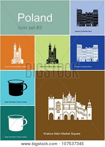 Landmarks of Poland. Set of color icons in Metro style. Editable vector illustration.