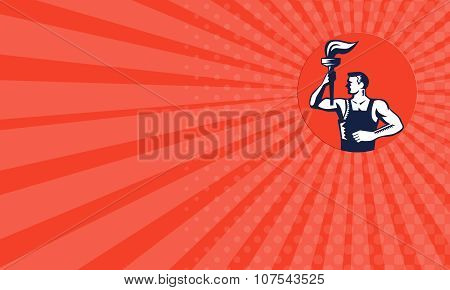 Business card showing illustration of a worker holding up flaming torch looking to the side set inside circle on isolated background done in retro woodcut style. poster