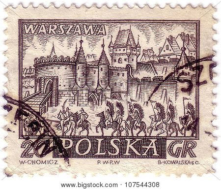 Poland - Circa 1960: A Stamp Printed By Poland Shows View Of Warsaw (warszawa) - The Capital And Lar