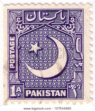 Pakistan- Circa 1948-1953: Stamp Printed In Pakistan Shows (crescent) Moon And Star Emblem, Scott Ca