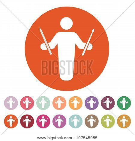 The painter avatar icon. Artist and craftsman symbol. Flat