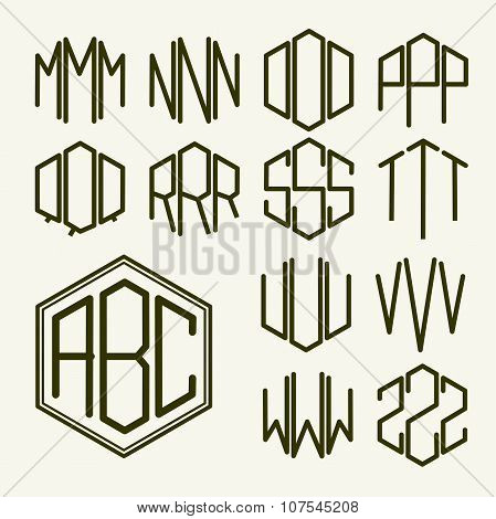 Set 2 template letters to create a monogram of three letters inscribed in a hexagon in Art Nouveau s