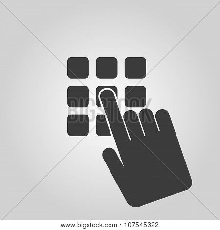 The pin code icon. Password and  unlock, access, identification, unlock symbol. Flat