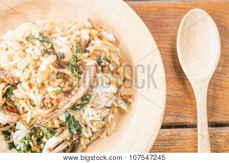 Rice Topped With Stir-fried Squid Basil (thai Food)