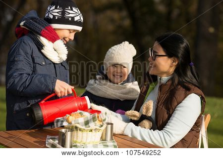 Family and picnic concepts. Son pouring tea for his mother while daughter standing near her and observing it. Young family spending time on a picnic. poster